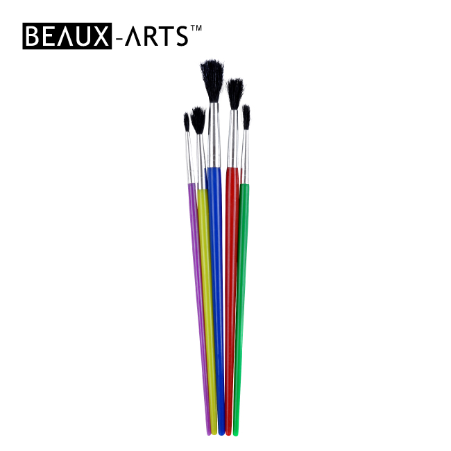 5pcs Black Goat Hair Artist Brush Sets with Colorful Plastic Handle for Kids Painting