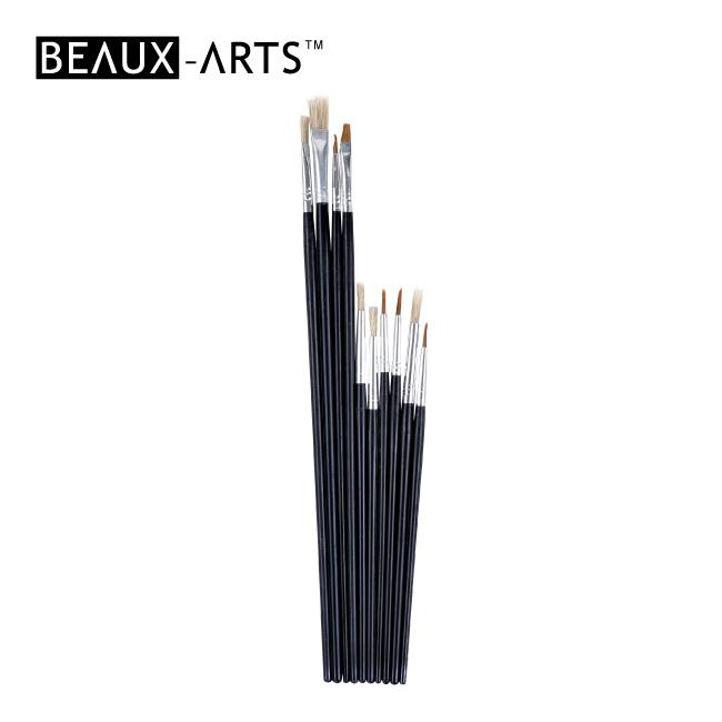 10pcs Hobby Brush Set with Black Wooden Handle