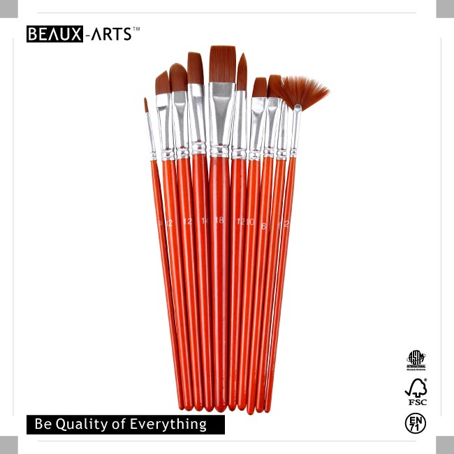 10pcs Synthetic Brush Packed in Nylon Pouch and PET Drum