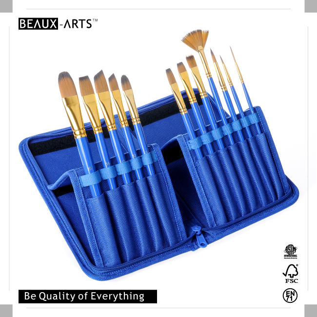 12 Pieces Paint Brush Set with Different Hair Shape in a Pouch