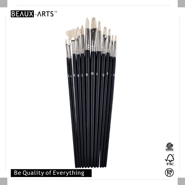 12PCS Artist Grade Hog Bristle Brush Set in PET Drum