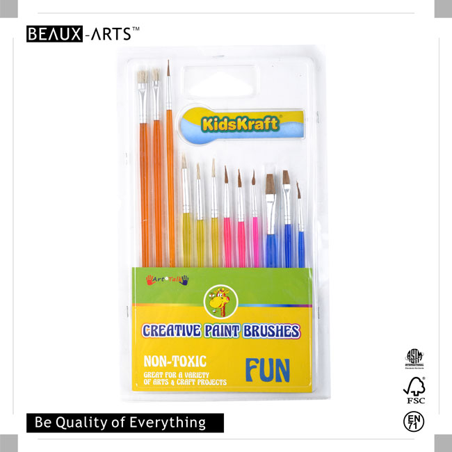 12pcs Hobby Brush Set with Colorful Plastic Handle