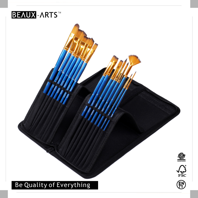 15 Pcs Paint Brushes set with a Brush Bag