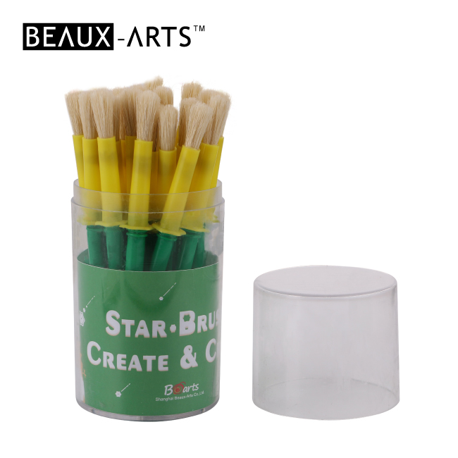 20pcs #6 Star Brush Set in Pvc Drum with Green Plastic Handle- Small Size