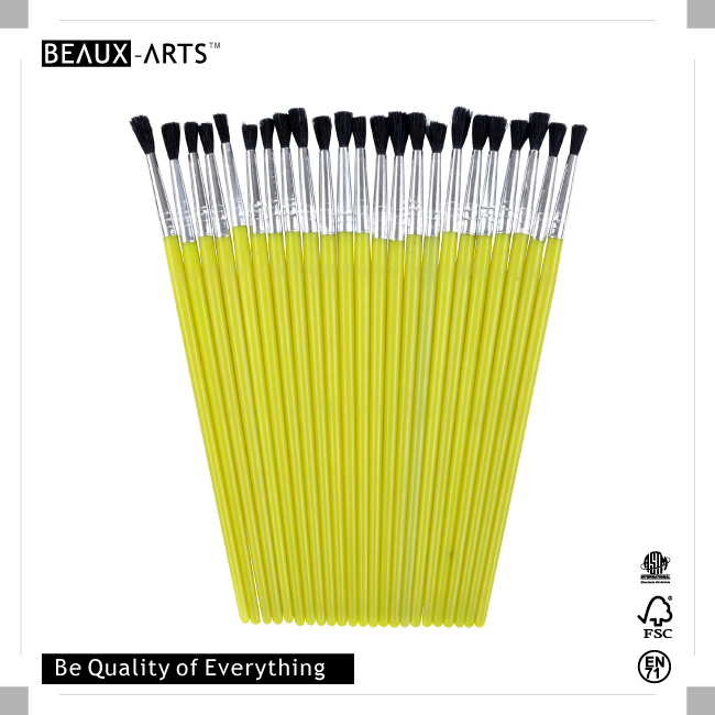 25pcs #5 PP Nylon Kids Brush with Yellow Plastic Handle for Painting