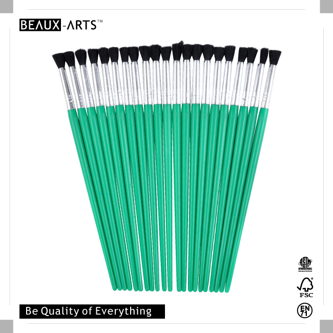 25pcs #9 PP Nylon Kids Brush with Green Plastic Handle for Painting
