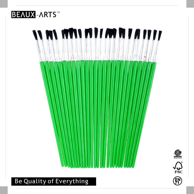 25pcs #3 PP Nylon Kids Brush with Green Plastic Handle for Painting