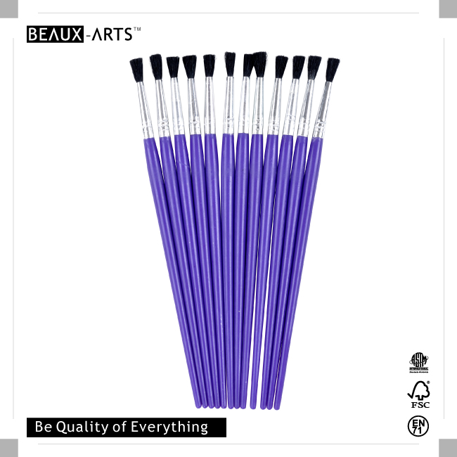 25pcs #7 PP Nylon Kids Brush with Purple Plastic Handle for Painting