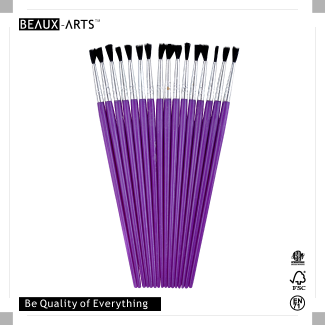 25pcs #1 PP Nylon Kids Brush with Purple Plastic Handle for Painting