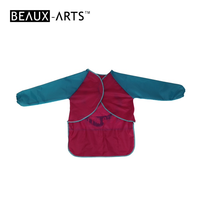 210T Polyester Smock Ordinary Waterproof Long-sleeved Kids and Graft Apron with 4 Pockets Below