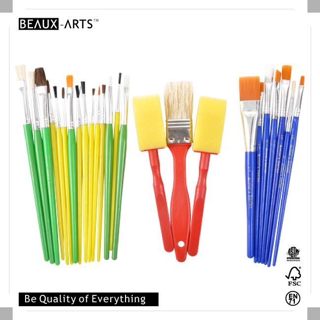 25pcs Brush Set with Plastic Handle and Printing Opp Bag
