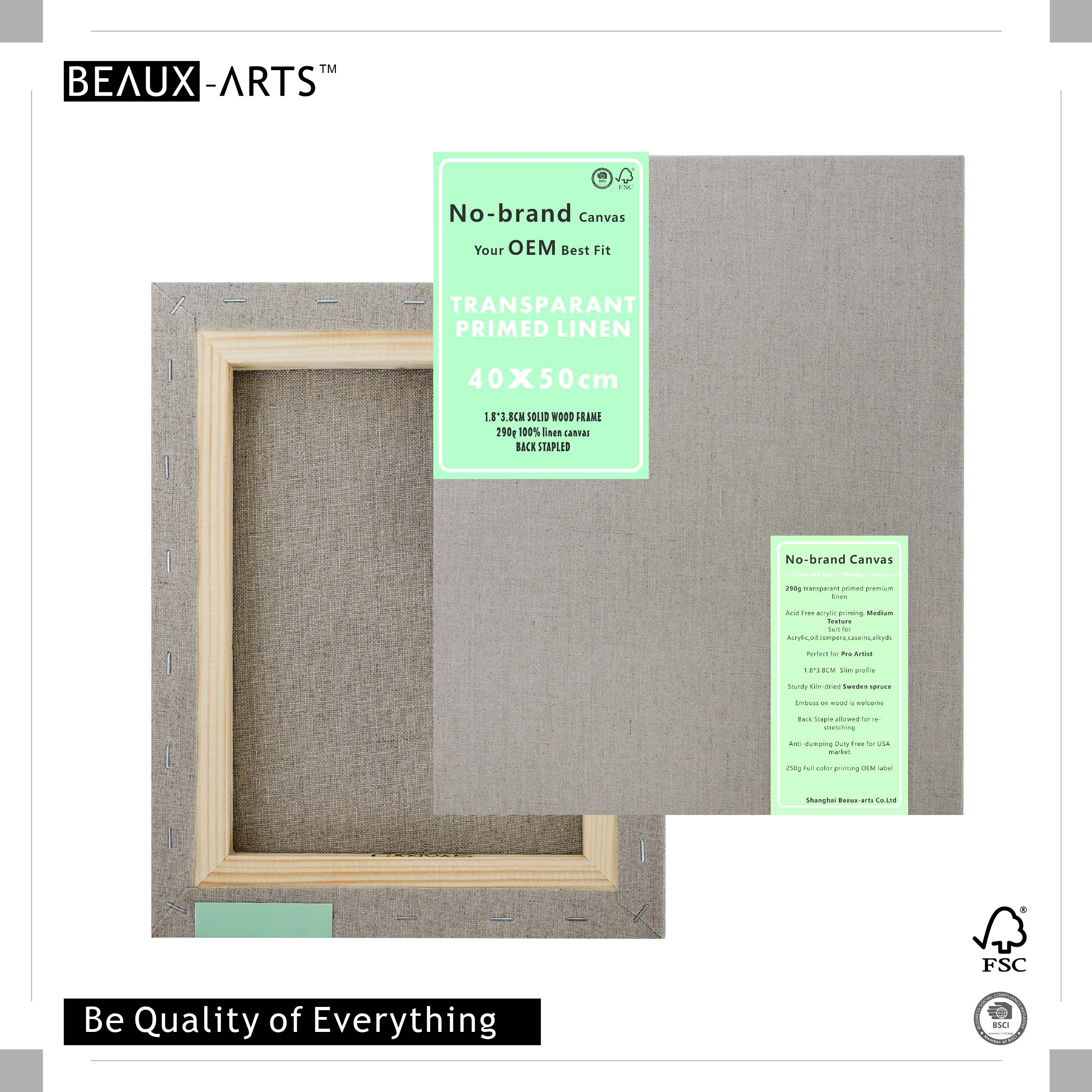 290g Transparent Primed Linen Stretched Painting on Canvases for Sale 1.8*3.8CM Sweden Spruce Perfect for Pro Artist