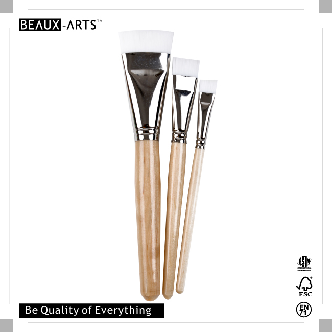 3 Pieces Inexpensive Decoupage Brush Set with White Synthetic Hair and Short Wood Handle for Watercolor Paint