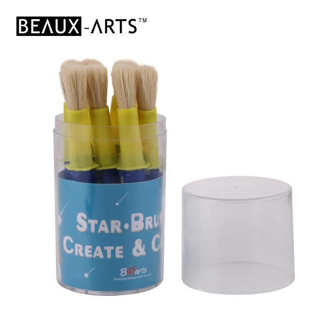9pcs #10 Star Brush Set in Pvc Drum with Blue Plastic Handle- Large Size