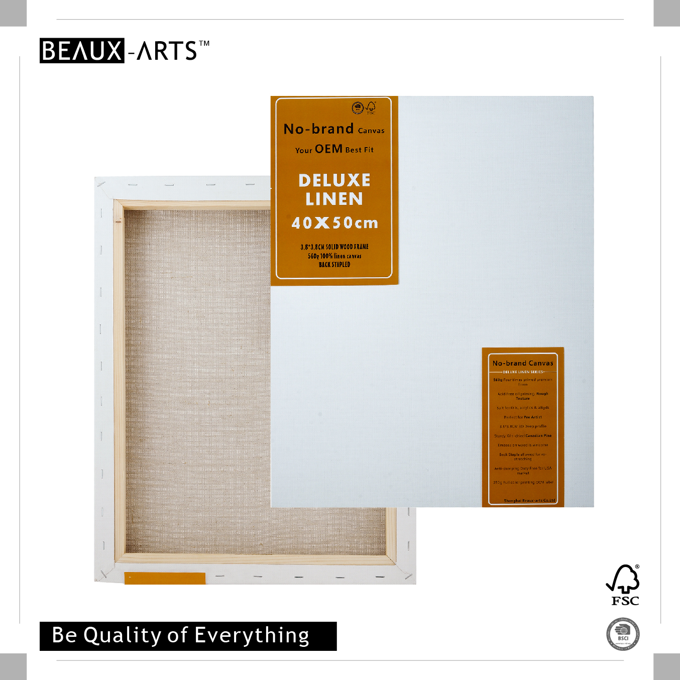 560g Deluxe Linen Stretched Modern Art Canvases 3.8*3.8CM Canadian Pine Wood Perfect for Pro Artist