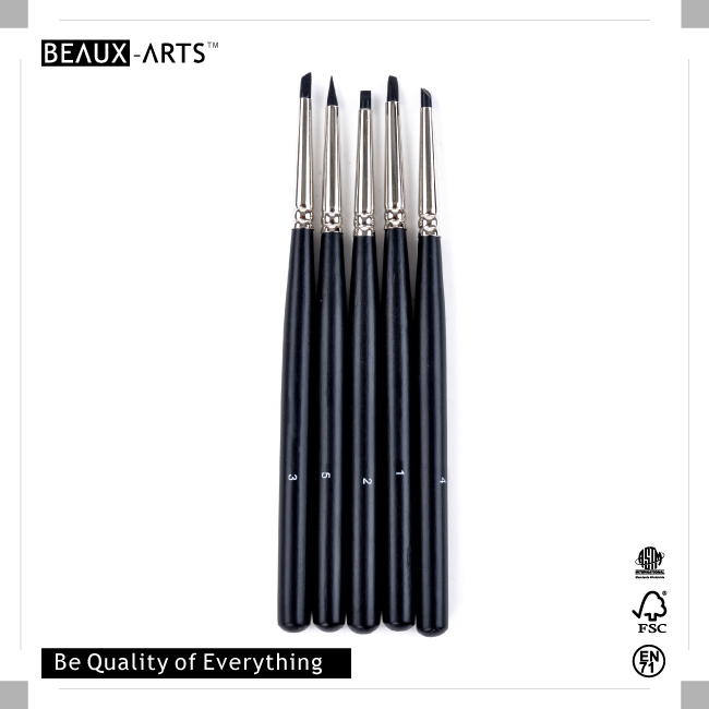 5 Pieces Black Artist Grade Silicone Brushes Set for Oil and Acrylic Paint