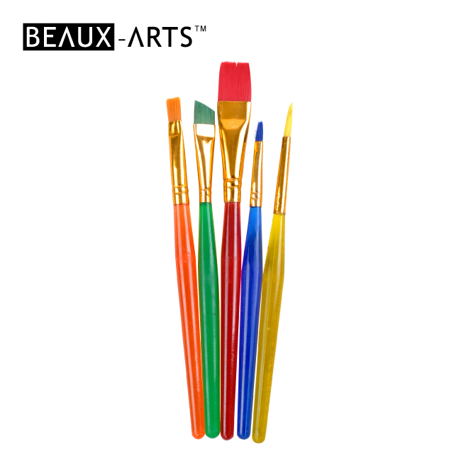 5pcs Artist Brush with a Short Colorful Plastic Handle