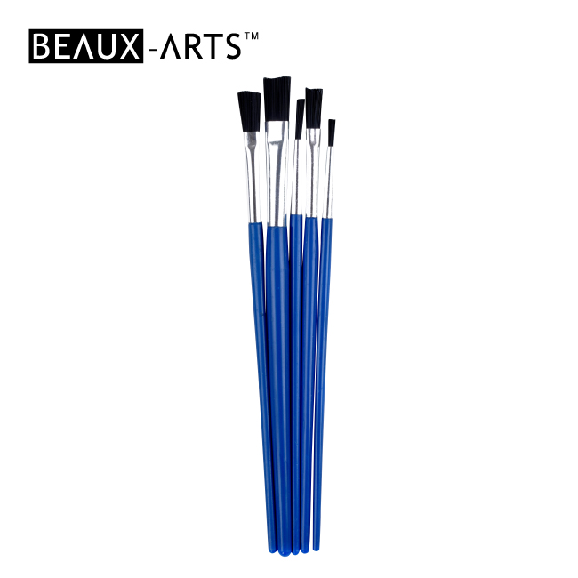 5pcs Hobby Brush Set with Aluminum Ferrule and Plastic Short Handle