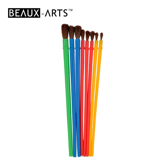 8pcs Pony Hair Creative Brush Set for Kids Painting
