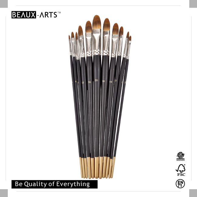 Filbert Premium Synthetic Hair Brush Set with Long Black Handle and Golden Tip for Acrylic Painting