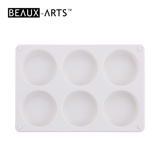 Rectangle Affordable White Plastic Palette with 6 Wells