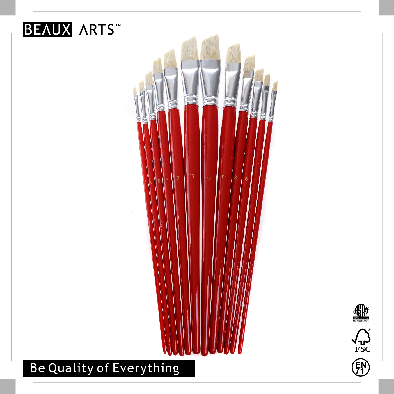 Angular Oil Paint Brushes with 90% Top Bleached Chungking Hog Bristle and Bright Red Long Birchwood Handle