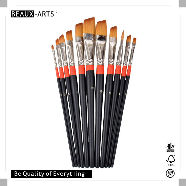 Angular Bicolor Premium Synthetic Hair Artist Brush with Black Short Handle and Red Ring for Acrylic Painting