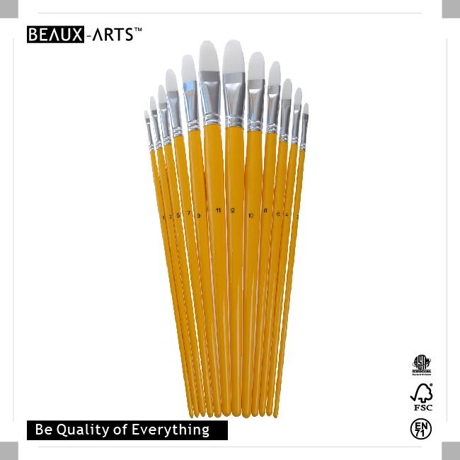 Filbert Premium Synthetic Professional Artist Brush with Bright Yellow Long Birchwood Handle