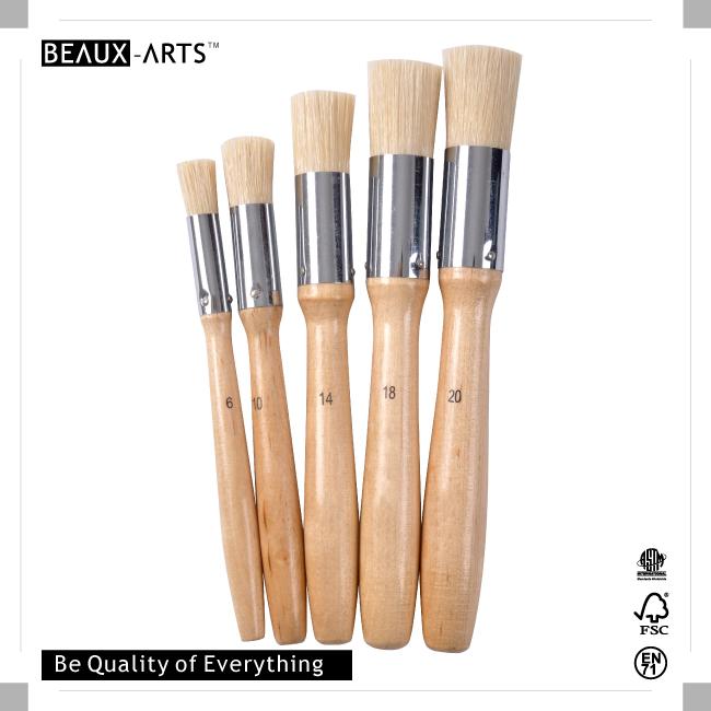 Artist Quality Birchwooded Hog Bristle Stencil Brush with Aluminum Ferrule