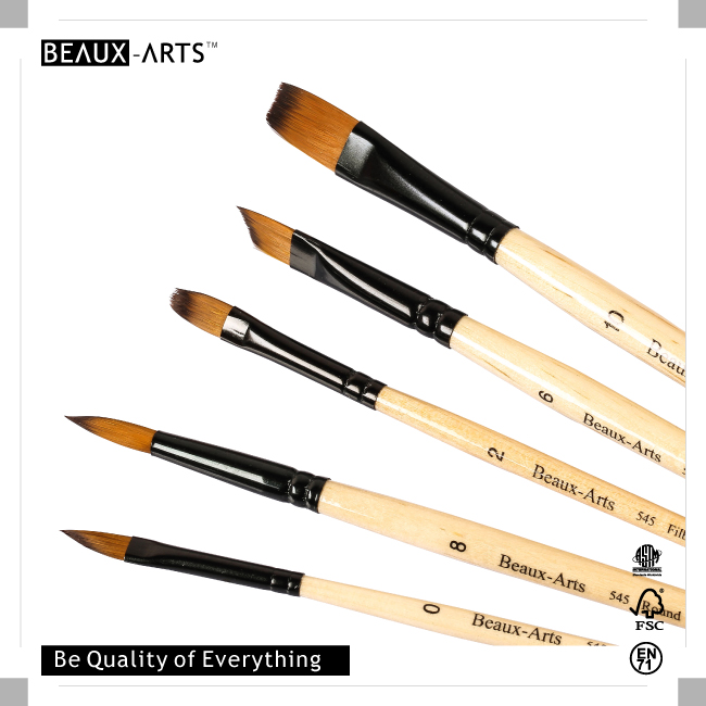 Bicolor Synthetic Hair Nail Art Brush Set with Black Alunimum Ferrule and Short Handle