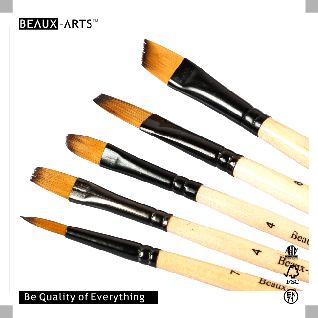 Bicolor Synthetic Hair Paint Brushes Wholesale with Black Alunimum Ferrule and Short Handle