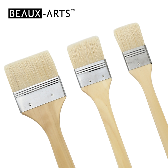 Bleached Hog Bristle Oil Painting Flat Brushes with Long Handle and Silver Stainless Steel Ferrule