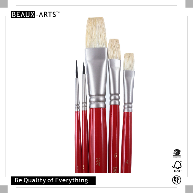 Chile Nationality Series 90% Interlocked Chung King Hog Bristle Art Paint Brush Set for Painting