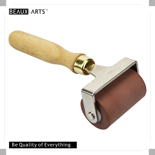 Deluxe Hard 2.5inch(5cm) Rubber Brayer with Wooden Handle