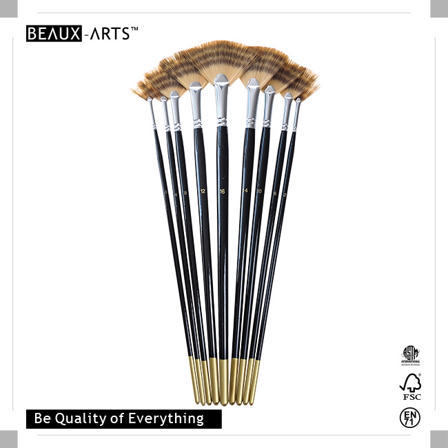 Fan High-Quality Tricolor Premium Synthetic Hair Acrylic Brush with Brass Ferrule and Black Golden Tip