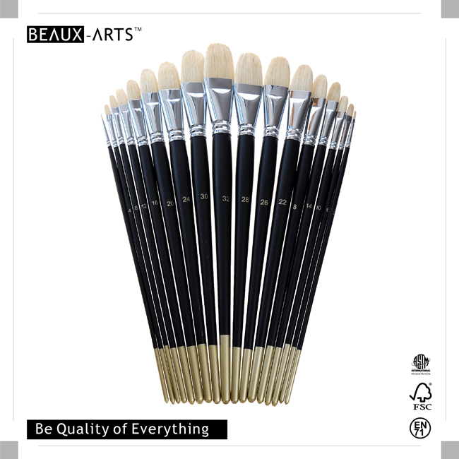 Filbert Best Paint Brushes with Top Quality Interlocked Chungking Bristle and Long Black Matt Handle with Golden Tip