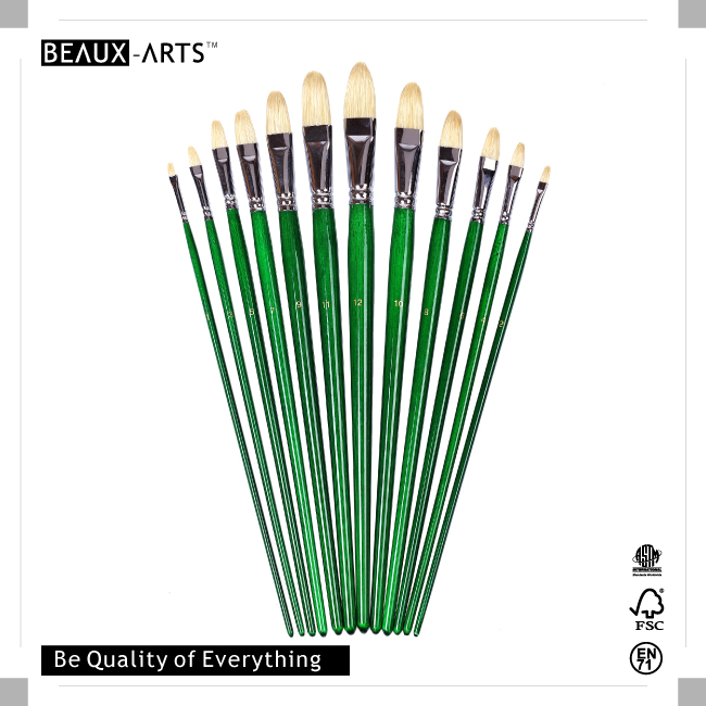 Top-Rated Filbert Artist Brushes Set with Interlocked Chungking Bristle and Long Green Transparent Varnished Birchwood Handle