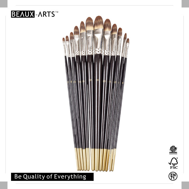 Filbert Tri-color Premium Synthetic Hair Professional Brush Set with Long Purple Handle and Golden Tip