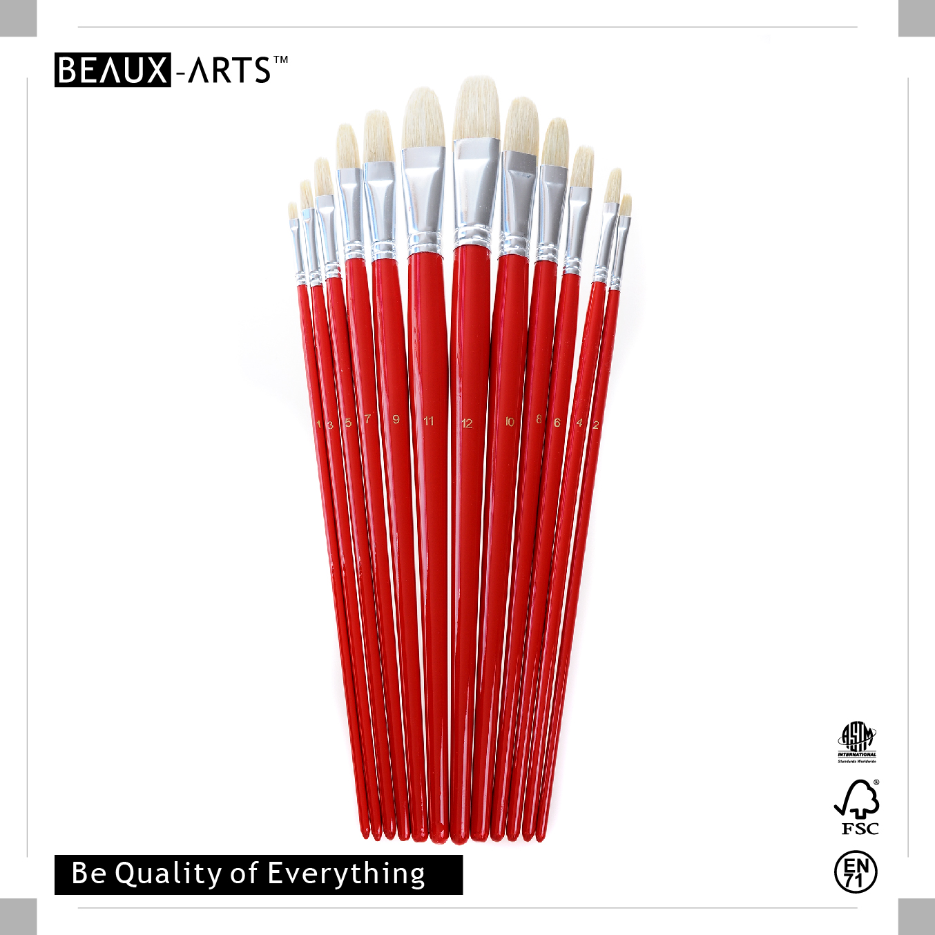 Filbert Art Brushes with 90% Top Bleached Chungking Hog Bristle and Bright Red Long Birchwood Handle