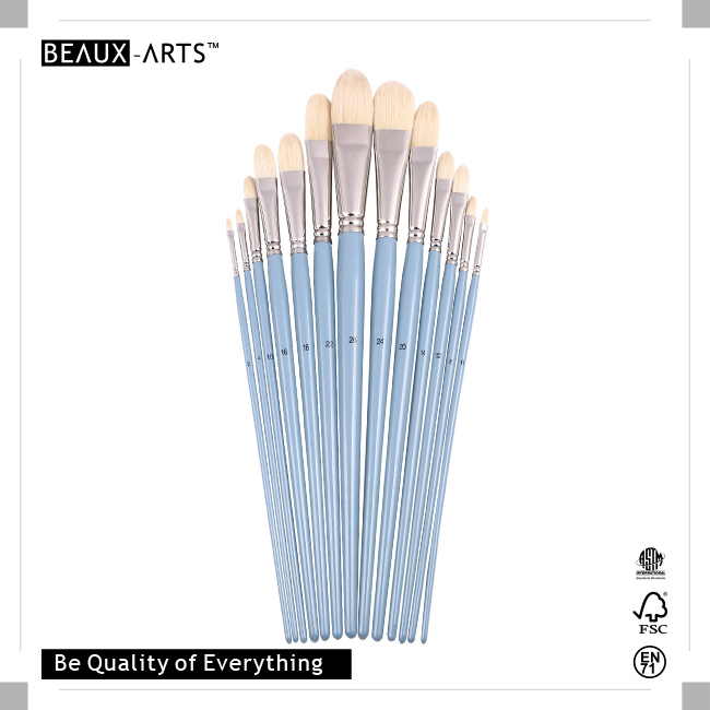 Filbert High-Quality Chungking Hair Art Brushes with Long Premium Grey Blue Birchwood Handle