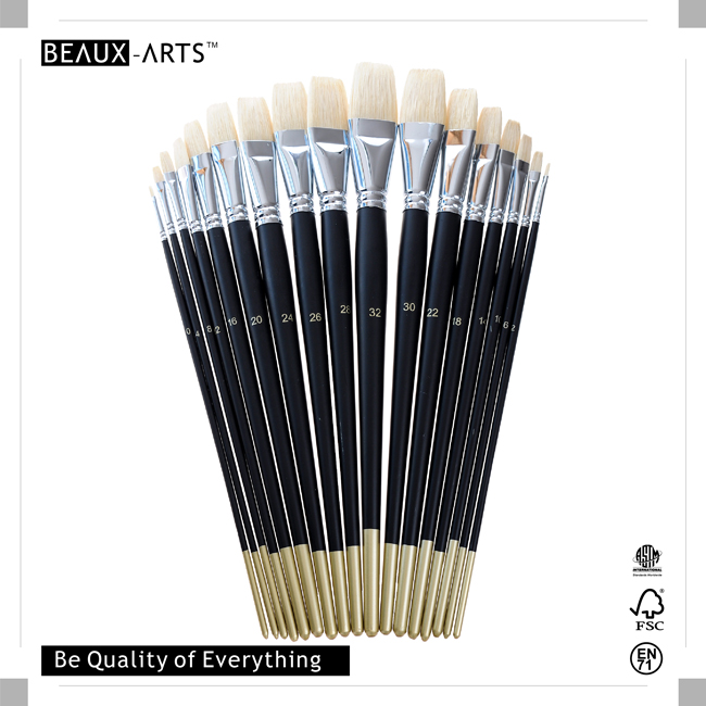 Flat Painting Brushes with Top Quality Interlocked Chungking Bristle and Long  Black Matt Handle with Golden Tip