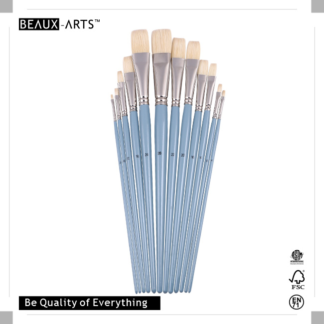 Flat High-Quality Oil Painting Brushes with Pure Chungking Top Quality Bristle and Long Premium Grey Birchwood Handle
