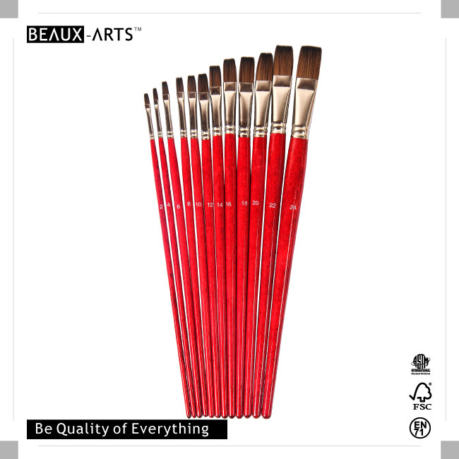 Flat Bicolor Premium Synthetic Professional Art Brushes with Long Red Transparent Varnished Birchwood Handle
