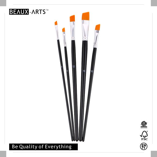 Angular Nylon Brush with Aluminum Ferrule and Medium Black Handle
