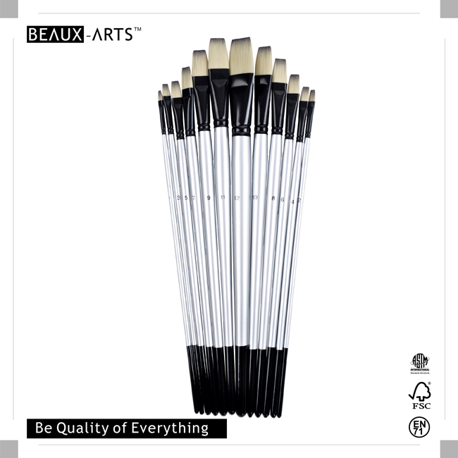 Flat Imitation Badger Synthetic Hair Professional Watercolor Brushes with Long Silver Handle and Black Tip