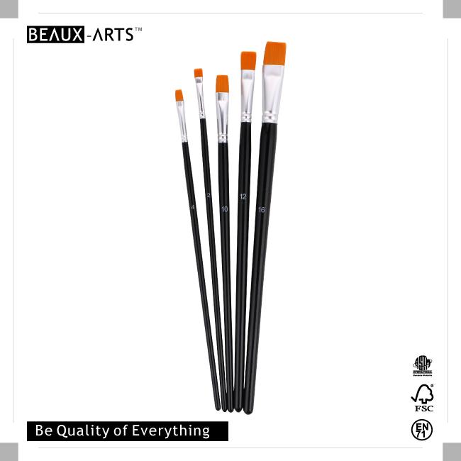 Flat Nylon Brush with Aluminum Ferrule and Medium Black Handle
