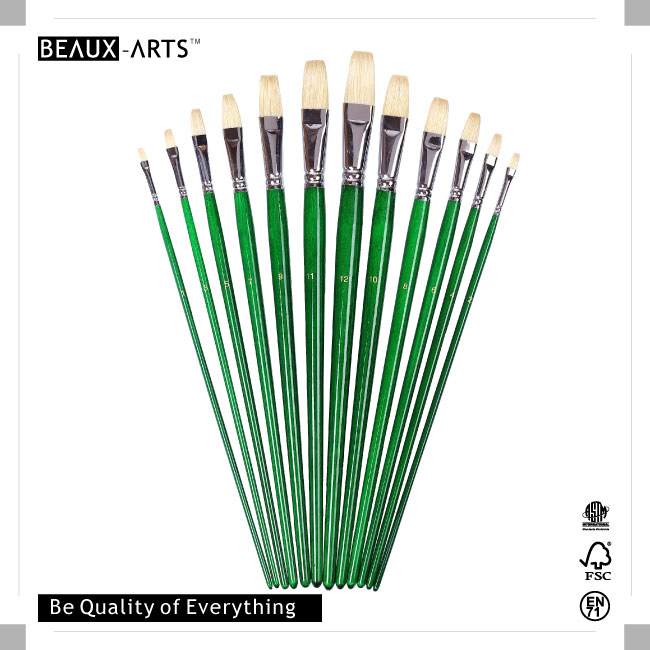 Top-Rated Flat Art Painting Brushes with Interlocked Chungking Bristle and Long Green Transparent Varnished Birchwood Handle
