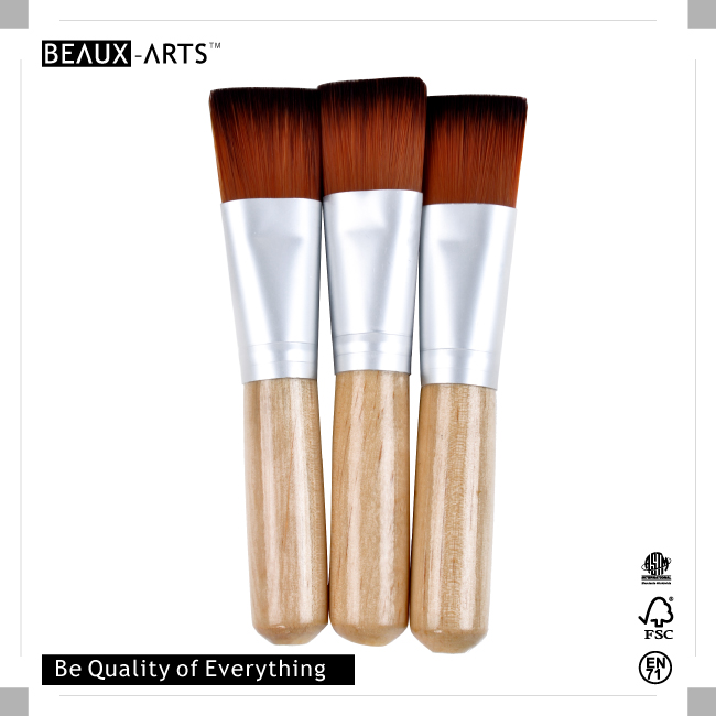 3 Pieces Good and Cheap Computer Brush with Short Wood Handle and Bicolor Synthetic Hair