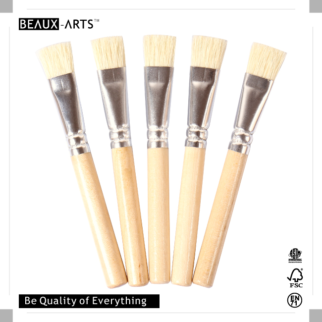 5 Pieces Good Decoupage Brush with Hog Bristle and Extra Short Handle for Acrylic Paint