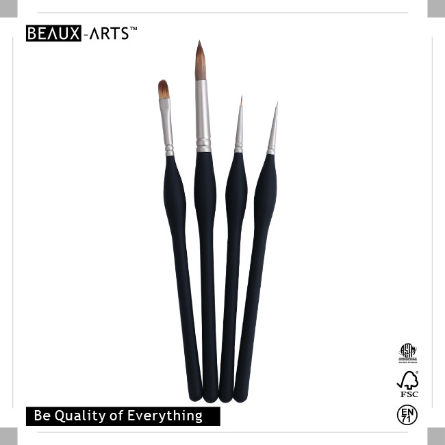 Professional Brush Set Pack with Pearl Nickle Plated Brass Ferrule and Medium Length Big Belly Comfortable Touch Wooden Handle, Excellent For Acrylic Painting